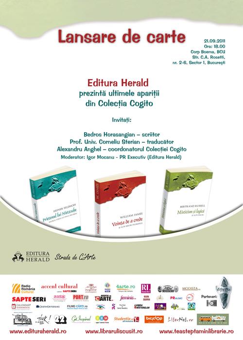 Editura Herald lanseaza trei titluri din colectia Cogito