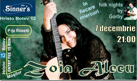 Zoia Alecu revine cu un concert in Sinner's
