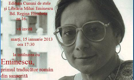 """Invitatie la eveniment: """"Eminescu, primul traducator roman din sanscrita"""""""