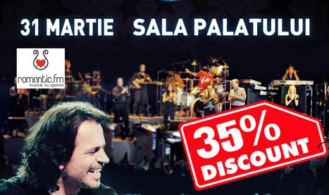 Yanni canta pe 31 martie la Sala Palatului