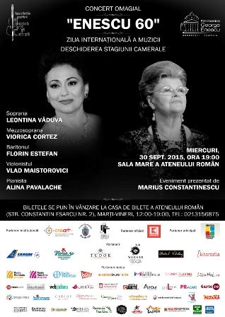 Recital omagial ENESCU 60: Leontina VADUVA si Viorica CORTEZ deschid stagiunea camerala a Filarmonicii George Enescu