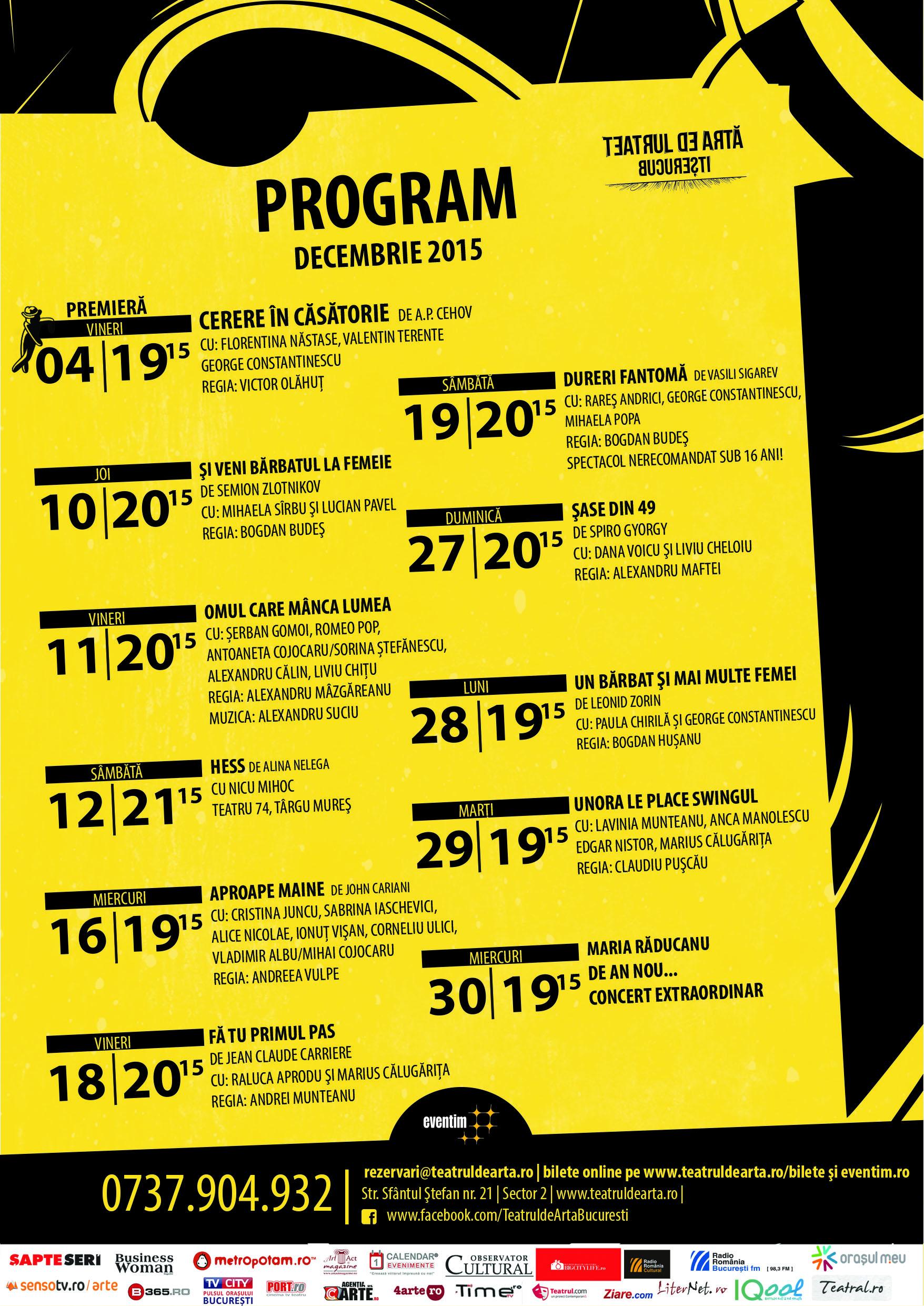 Programul lunii decembrie la TAB