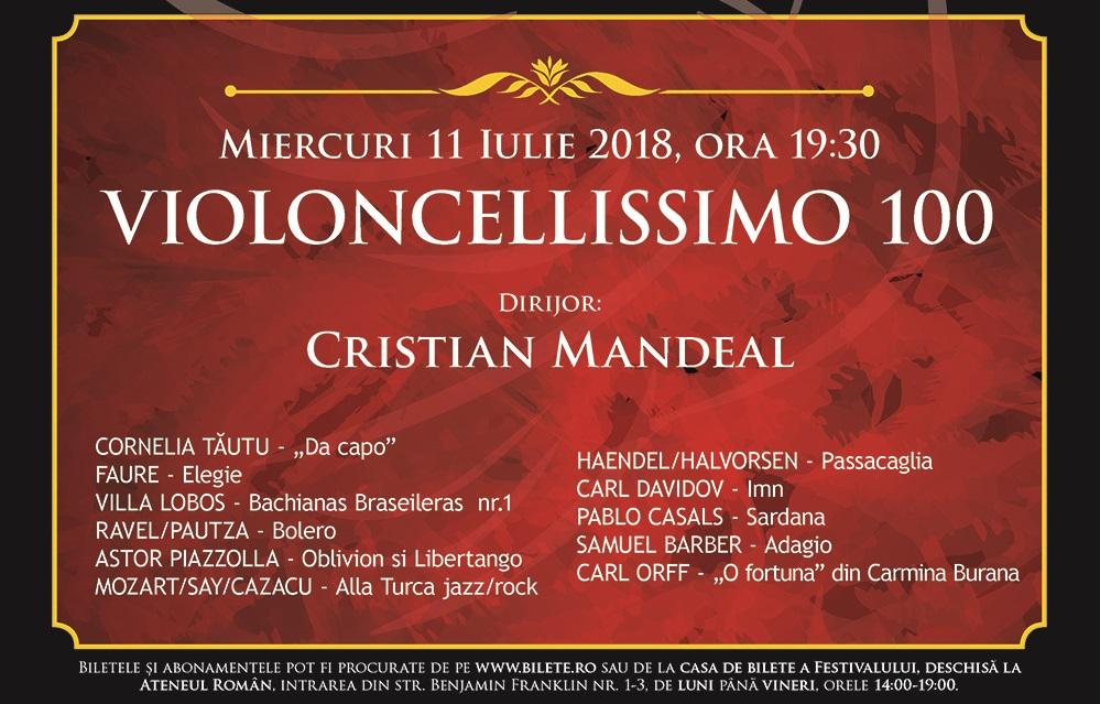 Cristian Mandeal va dirija 100 de violoncelisti pe scena Ateneului