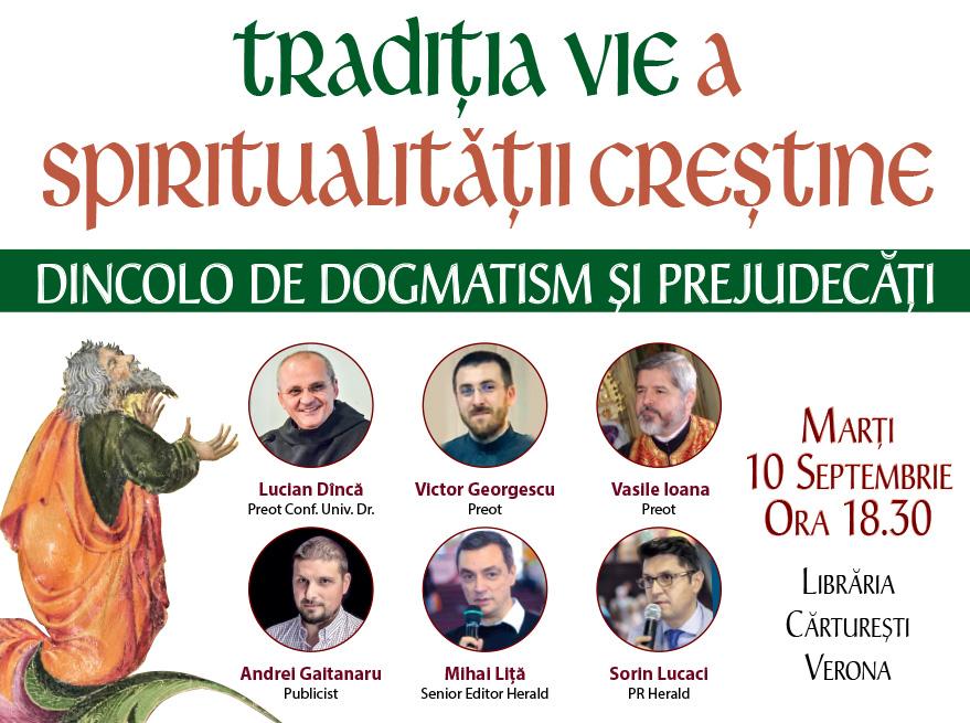 """Eveniment """"Te așteptăm în librărie"""": Tradiția vie a spiritualității creștine"""