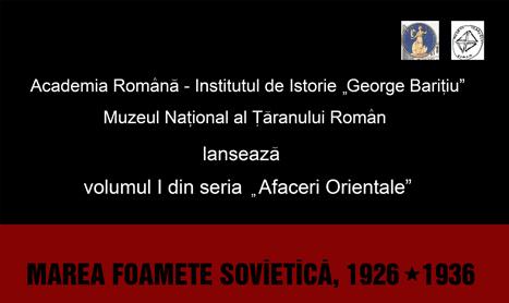 "Volumul ""Marea foamete sovietica 1926-1936"" se lanseaza la MTR"
