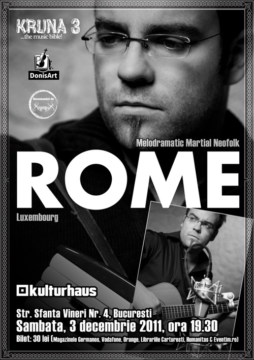 Rome concerteaza in capitala pe 3 decembrie