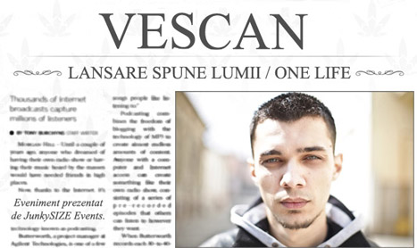 "Vescan lanseaza albumul ""Spune lumii/One Life"""