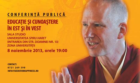 """Conferinta cu Jampa Lungtog: """"Educatie si cunoastere in Est si in Vest"""""""