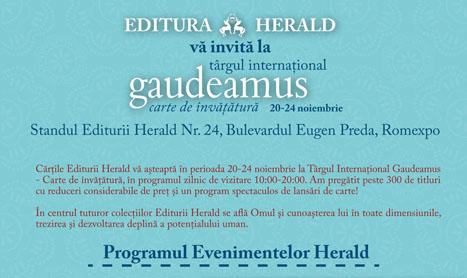 Programul Editurii Herald la Gaudeamus 2013