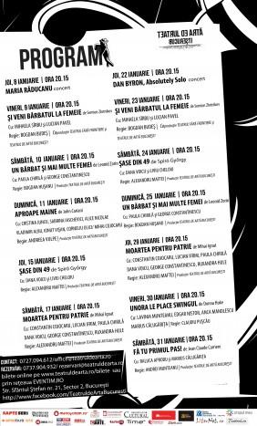 Programul inceputului de an 2015 la Teatrul de Arta