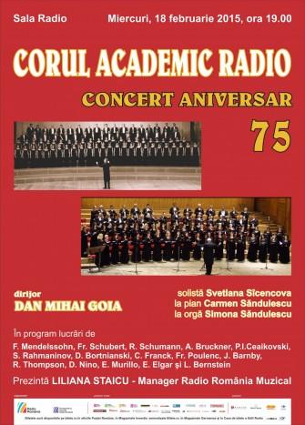 CONCERT ANIVERSAR CORUL ACADEMIC RADIO, 75 de ani de existenta
