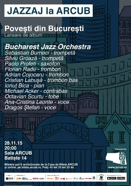 Bucharest Jazz Orchestra te invita sa traiesti Povesti din Bucuresti la ARCUB