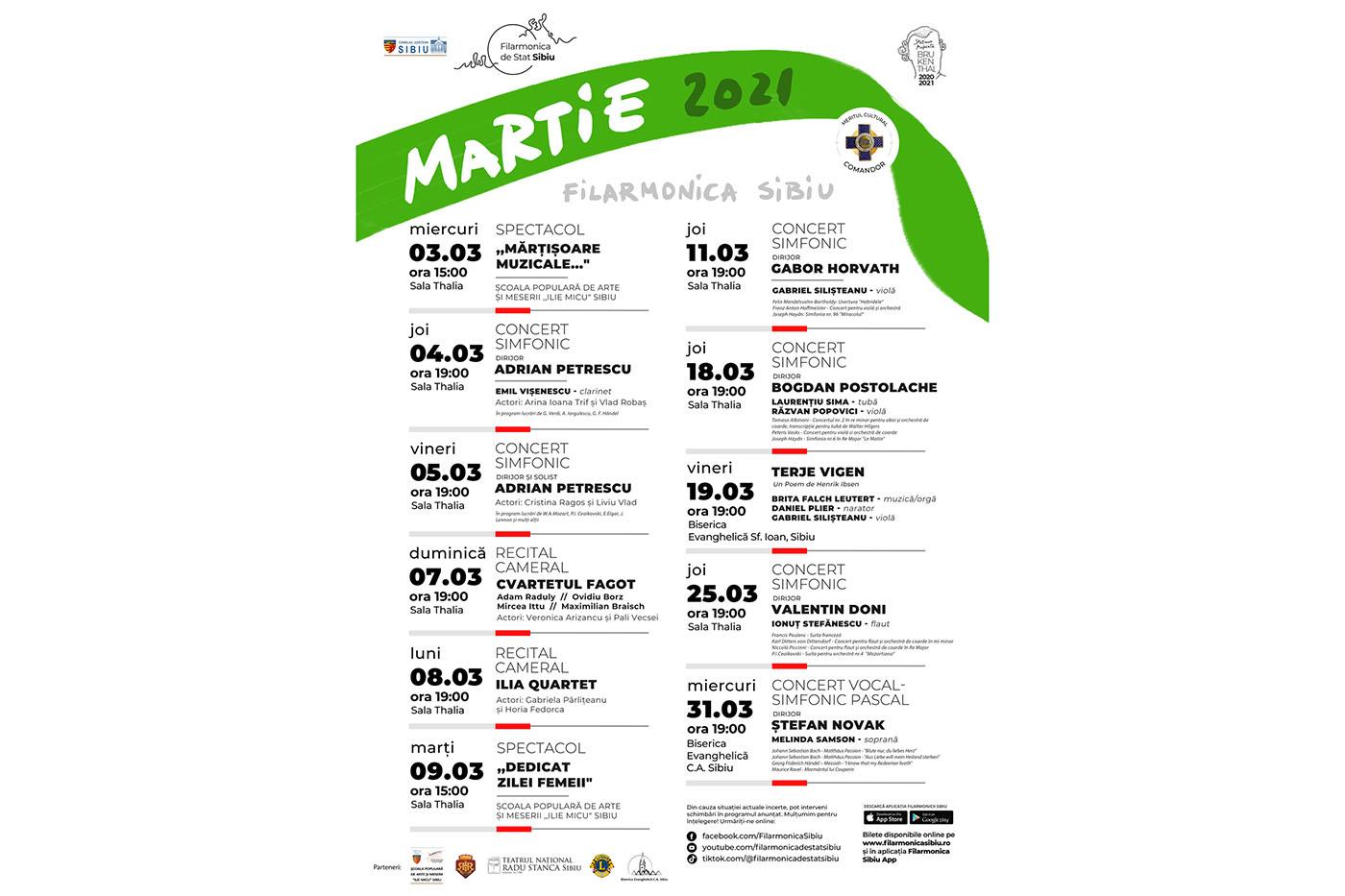Primăvara la Filarmonica de Stat Sibiu: program 3-9 martie