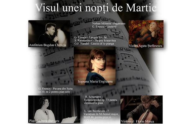 """""""Visul unei nopți de Martie"""", serată muzicală online și offline"""
